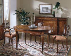 D 306, Mesa ovalada de madera de cerezo, extensible, clásico de lujo