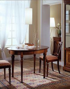 D 308, Mesa ovalada, de madera de cerezo, extensible, con la parte superior lisa