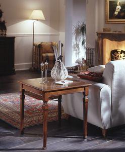 D 501, Mesa cuadrada de café en cereza, el embutido floral, clásico