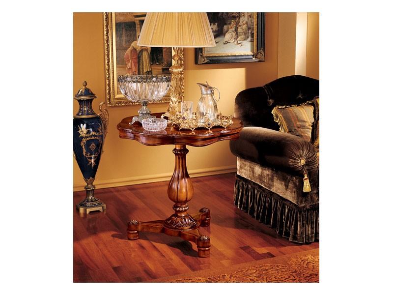 Elena side table 752, Pequeña mesa con estructura de madera tallada
