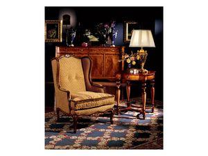 Ferrara side table 856, Lámpara de mesa clásico de lujo en madera tallada