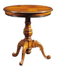 Filiberto FA.0115, Mesa de centro redonda de madera hecho a mano, estilo barroco