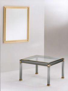 Firenze, Mesa de centro para el centro de la habitación hecha de acero, latón y vidrio