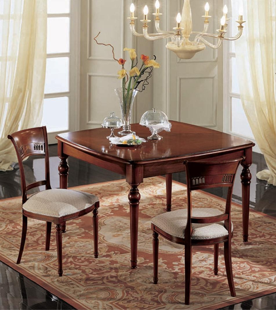 Mesa cuadrada extensible, clásico, de madera maciza de nogal ...