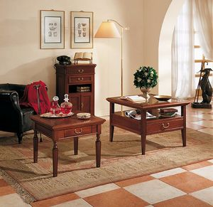 Giotto mesa de centro, Mesa de centro con tapa de cristal, con 4 cajones