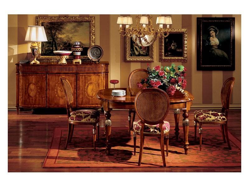 Hepplewhite table 742, Mesa clásico de lujo en madera para comedor