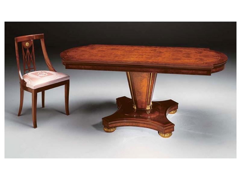 IMPERO / Dining table with base B, Mesa de comedor de madera de fresno, de estilo clásico