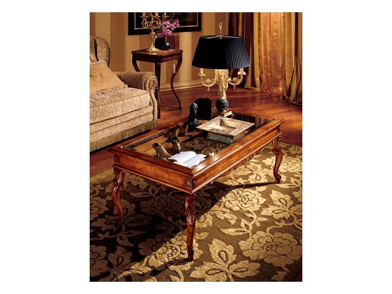 Katerina coffee table 716, Mesa de centro de madera con tapa de cristal, de estilo clásico