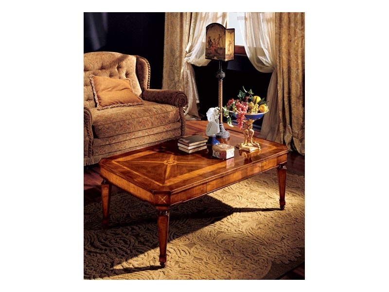 Katerina coffee table 853, Mesa de centro con incrustaciones hechas a mano