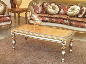 Kos mesa, mesa de café clásico en madera tallada, para Hotel de lujo