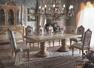 Lariana mesa rectangular, Suntuosa mesa de comedor con tapa incrustada