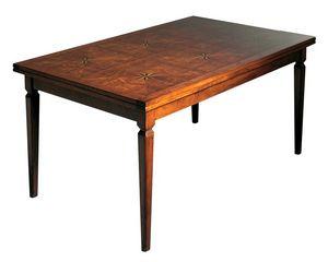 Lauret VS.5514.B, Nogal Mesa extensible rectangular, superior incrustaciones, para los comedores de estilo clásico y lujoso