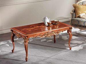 Lawrence mesa de café, Mesa de centro con tallas de hojas de oro.