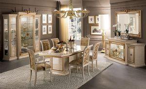 Leonardo comedor, Comedor clásico de lujo, con mesa, sillas y vitrina