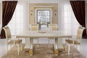 Liberty mesa, Mesas de comedor, productos de lujo made in Italy, en madera tallada a mano