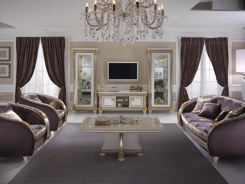 Liberty mesita, Mesa de centro para la sala de estar, madera decorada a mano, para la decoración de lujo