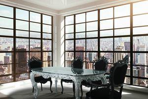 Luxury, Mesa clásica de lujo con tapa de cristal y acabado en plata