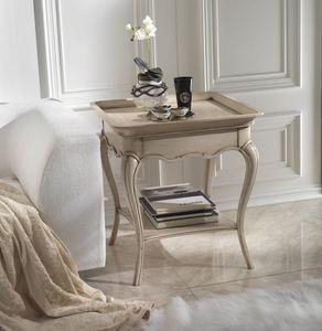 M 507 A, Mesa de centro con tapa de bandeja, en madera de cerezo, con estante