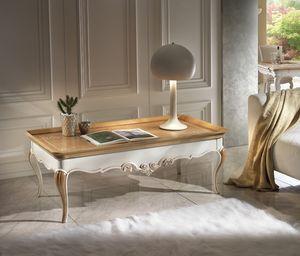 M 508 B, Cereza mesa de café, con tallas, rectangular, de dos tonos