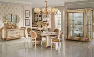 Melodia sala da pranzo, Comedor en estilo clásico, con vitrinas, aparador, mesa y sillas