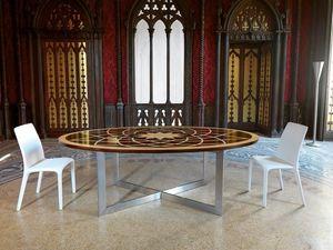 Mesa de Michelangelo, Mesa oval clásico, con tapa de madera y base de metal