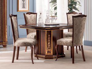 Modigliani mesa cuadrada, Mesa de comedor cuadrada, estilo imperio.