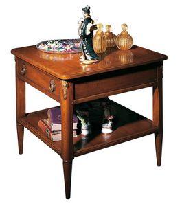 Orleans VS.5026, Mesa cuadrada de café en madera de nogal, con 1 cajón y 1 estante, para salas de estar en estilo clásico