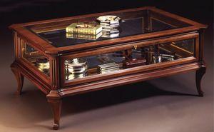 Oxford Art.509 mesa de cristal caso, Mesa de centro clásica para el pasillo central con escaparate, en madera de nogal
