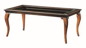 Raffaello FA.0134, Decò mesa de café en la madera, tapa de cristal, de estilo clásico