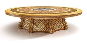 S01 mesa redonda, Mesa clásica de lujo con Lazy Susan, con incrustaciones de madera de brezo, talladas a mano