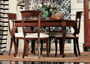 Settecento tavolo quadrato, Mesa extensible en madera de nogal, con la artesanía