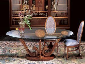 T482 Le volute mesa, Mesa de comedor oval de madera con tapa de cristal