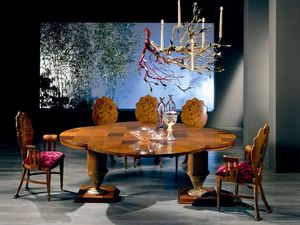 TA32 Quadrifoglio mesa, Mesa de madera extensible, con cuatro hojas forma de trébol