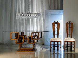 TA34 Glamour, Mesa ovalada, tapa de cristal, la base de madera de los anillos