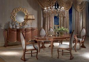 TA51 Vanity mesa, Mesa de comedor antiguo, ovalada, extensible, pan de oro