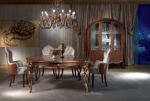 TA52 Vanity mesa, Mesa clásica en madera tallada, nogal, pan de oro