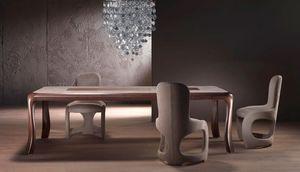 TA54 Botero, Mesa de madera maciza, de arriba con incrustaciones de temática geométrica