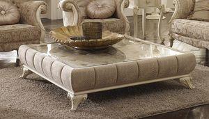 Tea mesa de café, Mesa de centro acolchada, con tapa de cristal