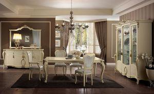 Tiziano mesa, Mesa rectangular, piernas finamente trabajadas, marfil, para los comedores clásicos elegantes