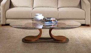 TL57 Mistral mesa peque�a, Mesa para sala central, en madera de nogal, con tapa de cristal