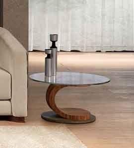 TL58 Mistral mesa peque�a, Mesa de centro ovalada en madera de nogal, cristal y acero, con incrustaciones