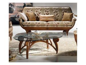 TL24 Le Spirali mesa pequeña, Mesa de centro, la parte superior de cristal ovalado, para sala de estar