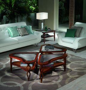 TL38 TL39 Quadrifoglio mesa pequeña, Mesas de madera con incrustaciones de Villas clásicos de lujo