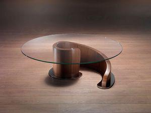 TL41 Minerva mesa pequeña, Mesa de centro en madera contrachapada, tablero de vidrio