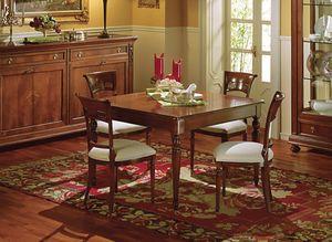 Voltaire mesa cuadrada, Mesa cuadrada extensible, clásico, con cajón