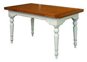 Yvette BR.0111.A, Mesa de madera extensible, piso pulido, para ambientes de estilo clásico