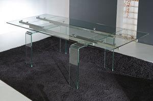 Art. 676 Glass, Mesa con patas y tapa de cristal extensible