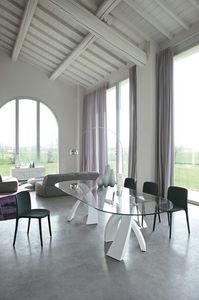 BIG ELISEO, Mesa con doble base y tapa en cristal, madera o cerámica.