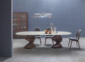 BIG FIRENZE, Mesa con doble base y tapa en cristal o cerámica.