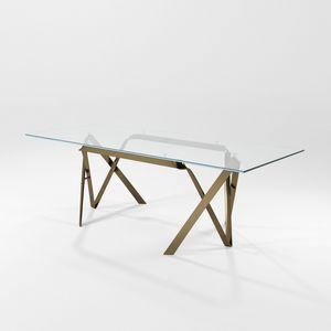 Compasso, Mesa con tapa de cristal y estructura de hoja de hierro